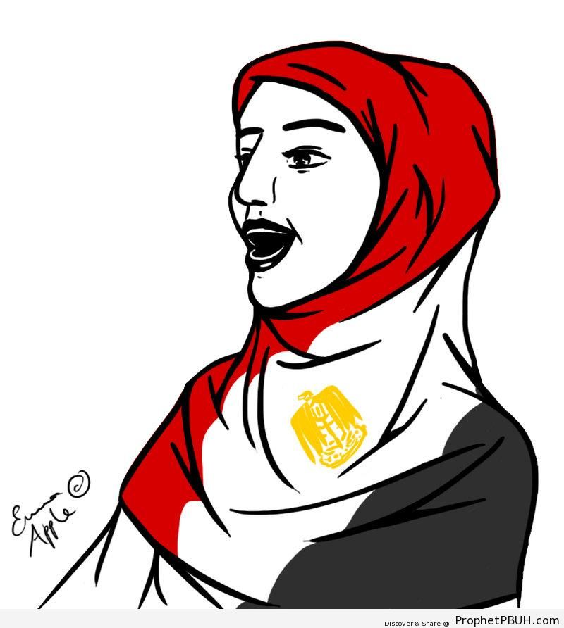 Egyptian Woman Revolutionary Wearing Flag Hijab - Drawings