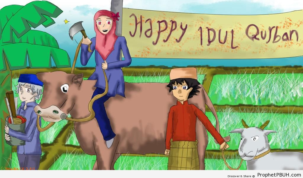 Eid Adha Greeting With Cow and Sheep - Drawings