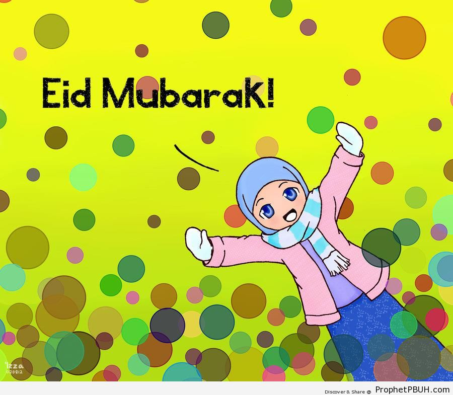 Eid Mubarak Greeting With Anime Muslim Girl - Drawings