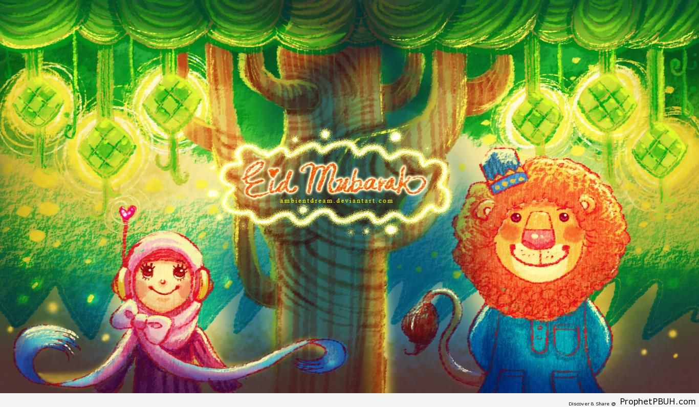 Eid Mubark Illustration with Smiling Muslim Girl and Lion - Drawings