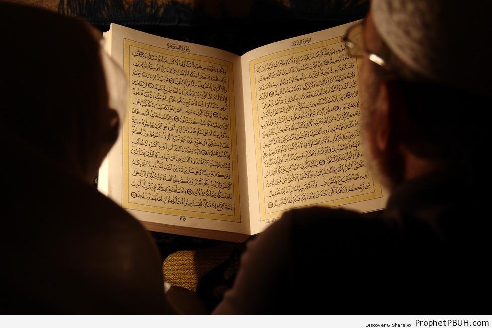 Elderly Husband and Wife Reading the Quran - Mushaf Photos (Books of Quran)