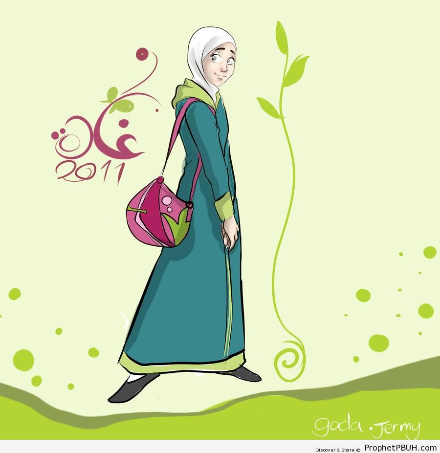 Elegant Muslim Costume - Drawings