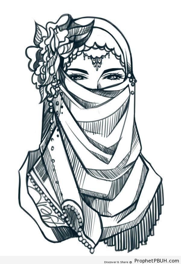 Elegant Niqabi Lady Drawing - Drawings