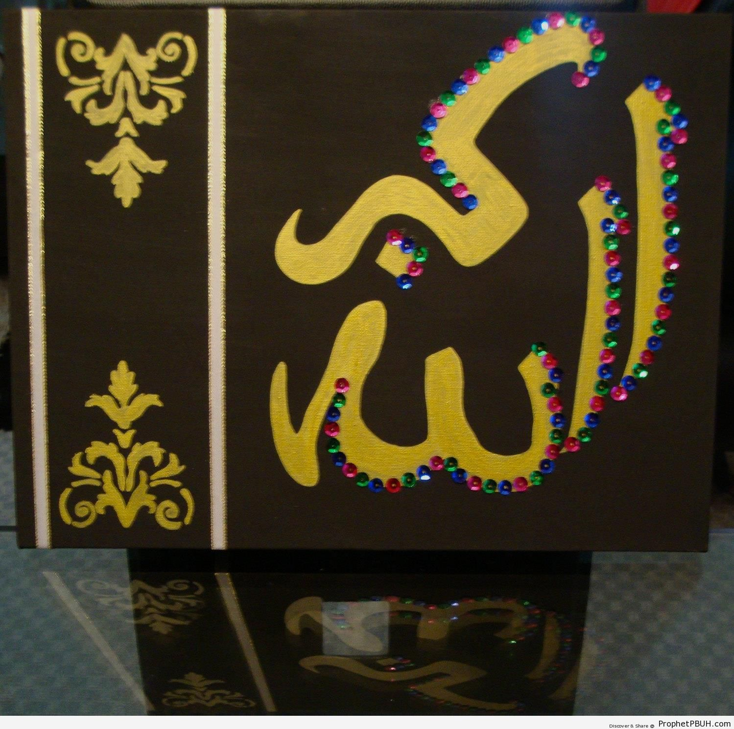 Embellished Allahu Akbar (-God is Great-) in Acrylic Paint - Allahu Akbar Calligraphy and Typography