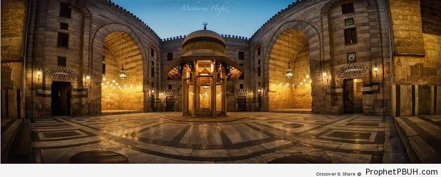 Evening Panorama Of Sultan Hassan Mosque Courtyard (Cairo, Egypt)   Cairo,  Egypt