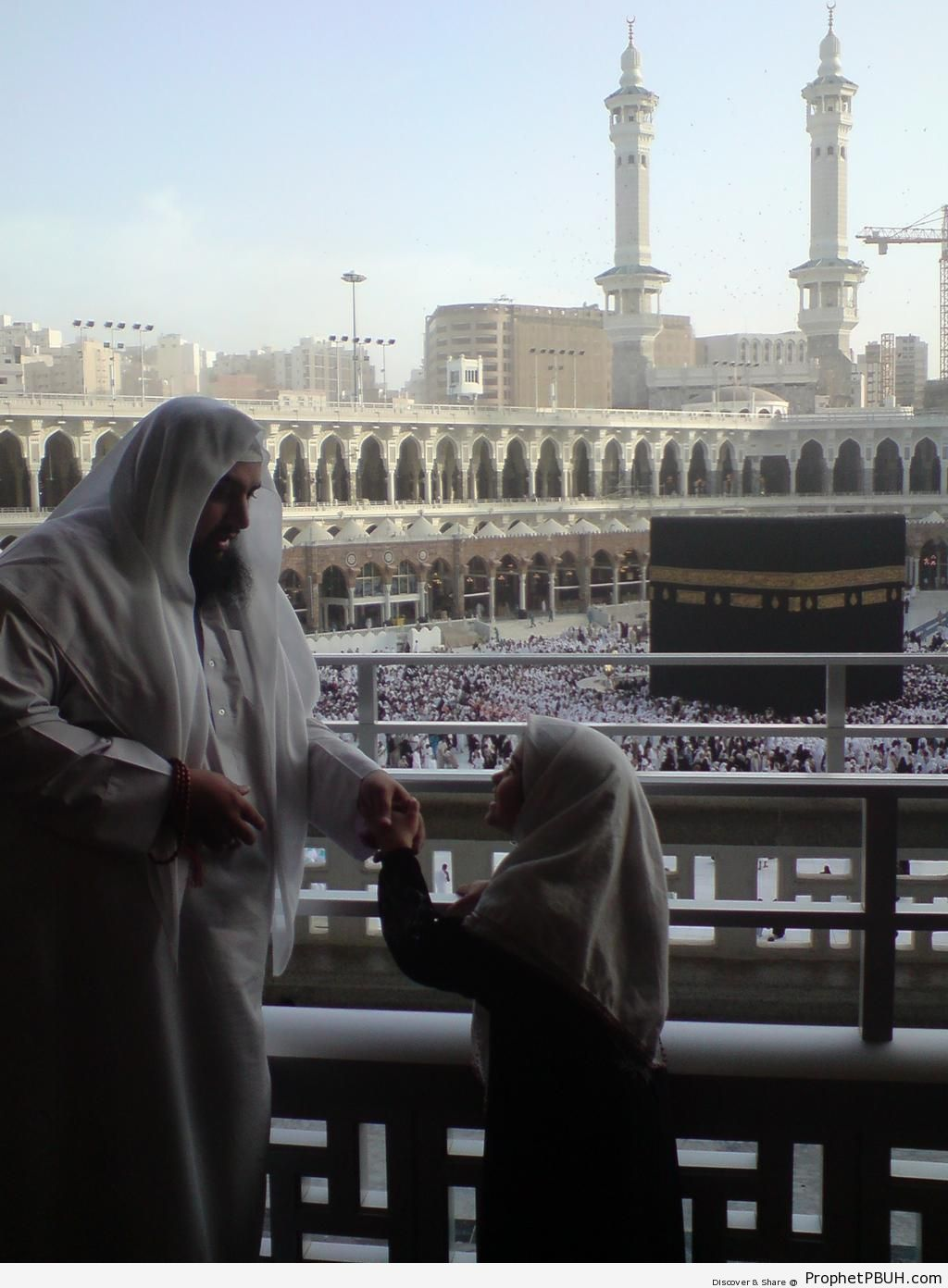 Father and Daughter at Masjid al-Haram in Makkah - al-Masjid al-Haram in Makkah, Saudi Arabia -Picture