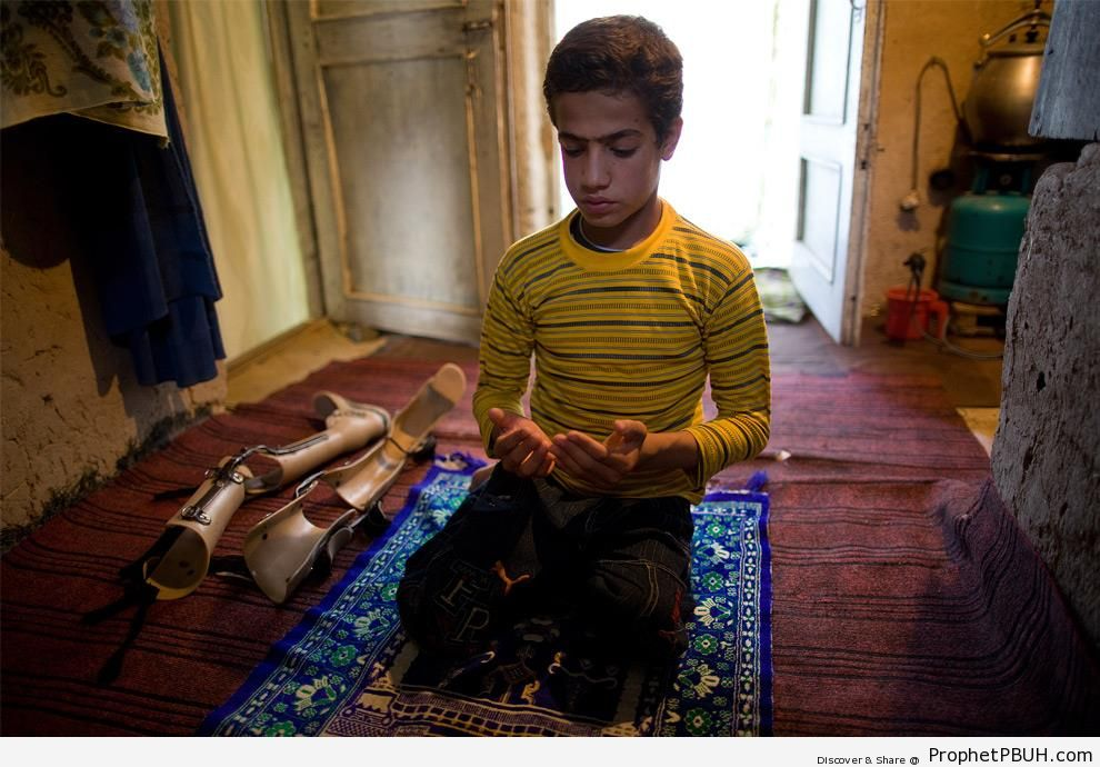 Fawad Rahmani, 11, Praying at Home (Kabul, Afghanistan) - Photos -