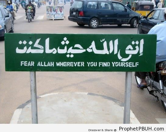 Fear Allah Road Sign - Islamic Quotes About Taqwa (Fear and Mindfulness of God, Protecting Oneself from God's Displeasure)