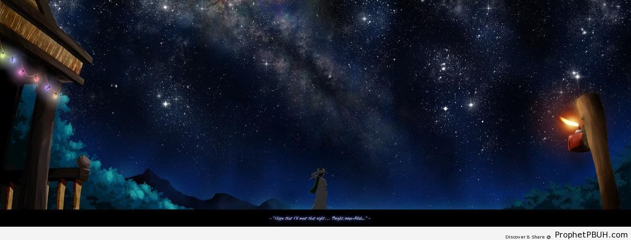 Finding Lailatul Qadr Sky (Anime-Style Drawing) - Islamic Posters