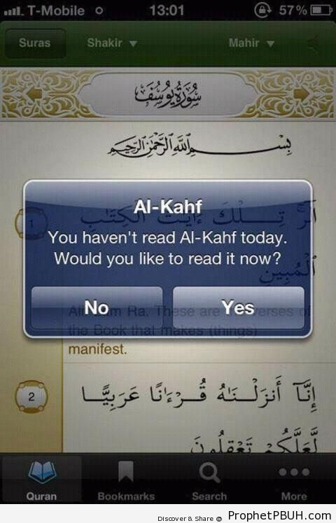 Friday Surat al-Kahf Reminder on Mobile Phone App - Islamic Quotes About Day of Jumu`a (Friday)