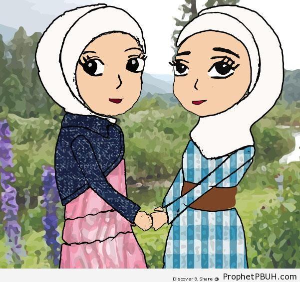 Friends (Drawing of Two Hijabi Muslim Women) - Drawings