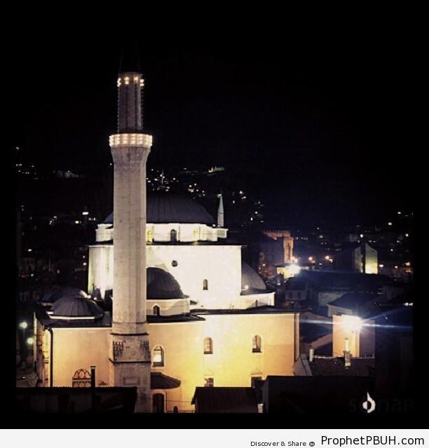 Gazi Husrev-beg Mosque (Gazi Husrev-begova Džamija) at Night (Sarajevo, Bosnia and Herzegovina) - Bosnia and Herzegovina