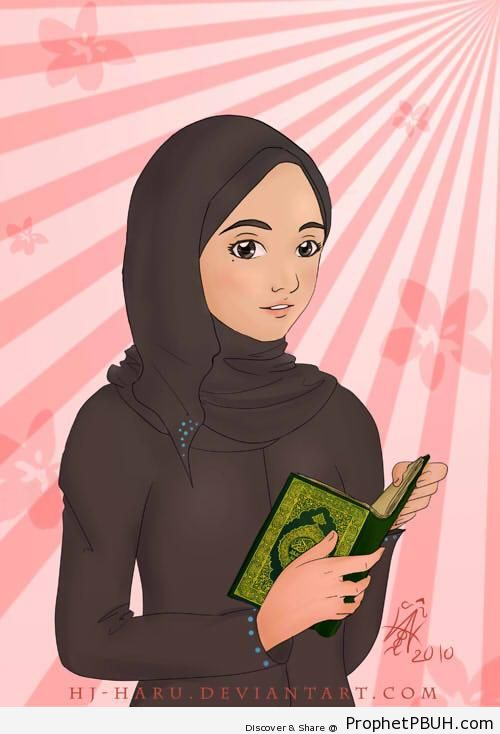 Girl With Quran in Calm Reflection - Drawings