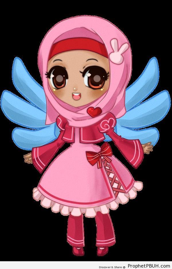 Girl in Hijab (Manga Drawing) - Chibi Drawings (Cute Muslim Characters)