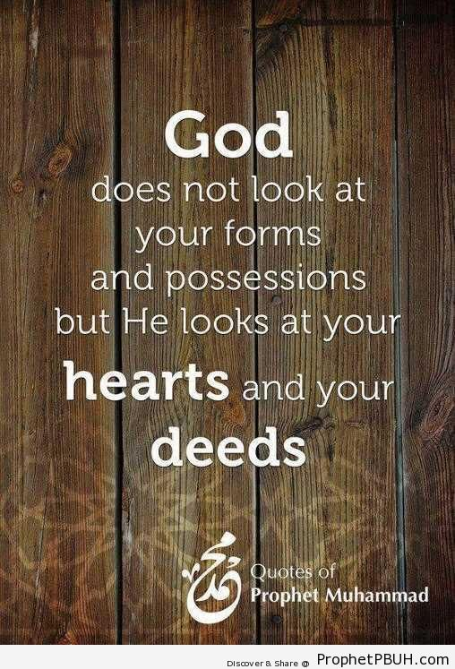 God Does Not Look At Your Forms (Hadith) - Hadith