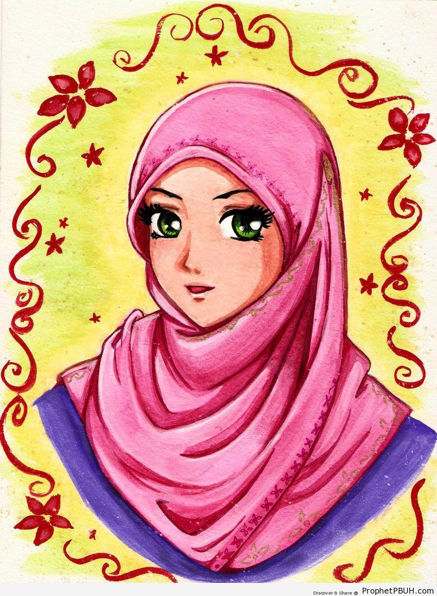 Green Eyes in Pink Hijab (Muslim Girl Painting) - Drawings