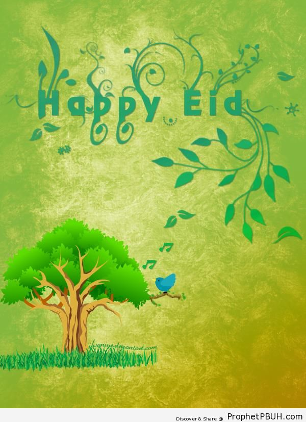 Green Happy Eid Greeting with Tree and Leaves - Drawings of Leaves