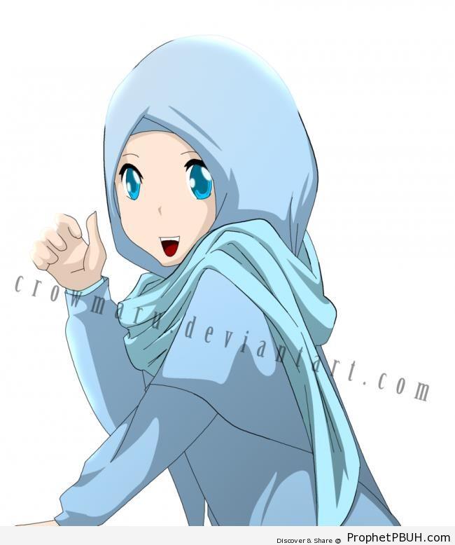 Happy Anime Muslimah - Drawings