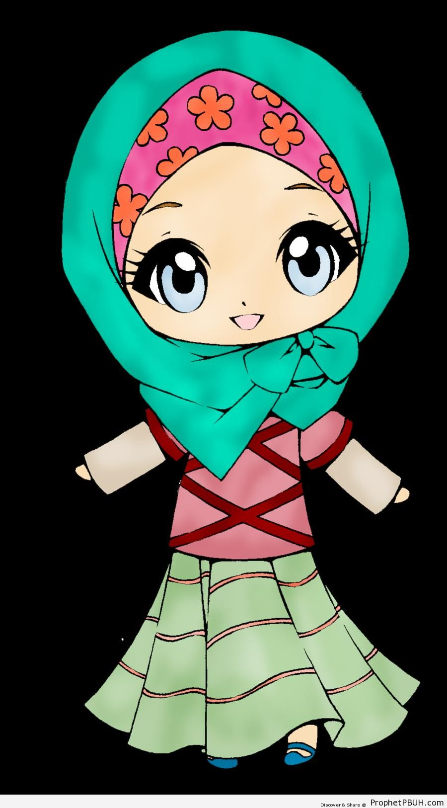 Happy Chibi Hijabi - Chibi Drawings (Cute Muslim Characters)