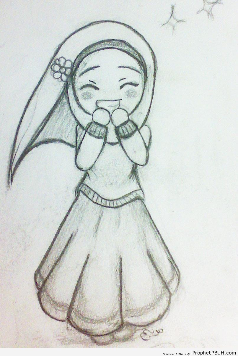 Cute Girl Drawings Happy Cute Hijabi Girl Chibi