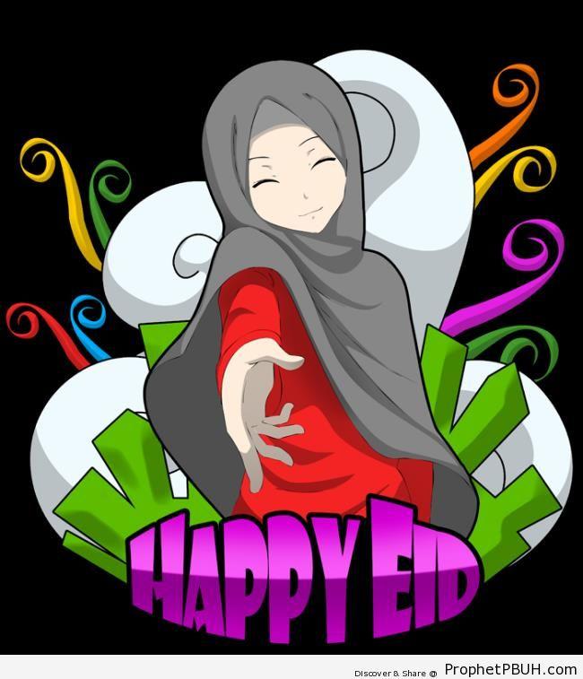 Happy Eid Greeting on Illustration of Smiling Muslim Woman - Drawings of Female Muslims (Muslimahs & Hijab Drawings)