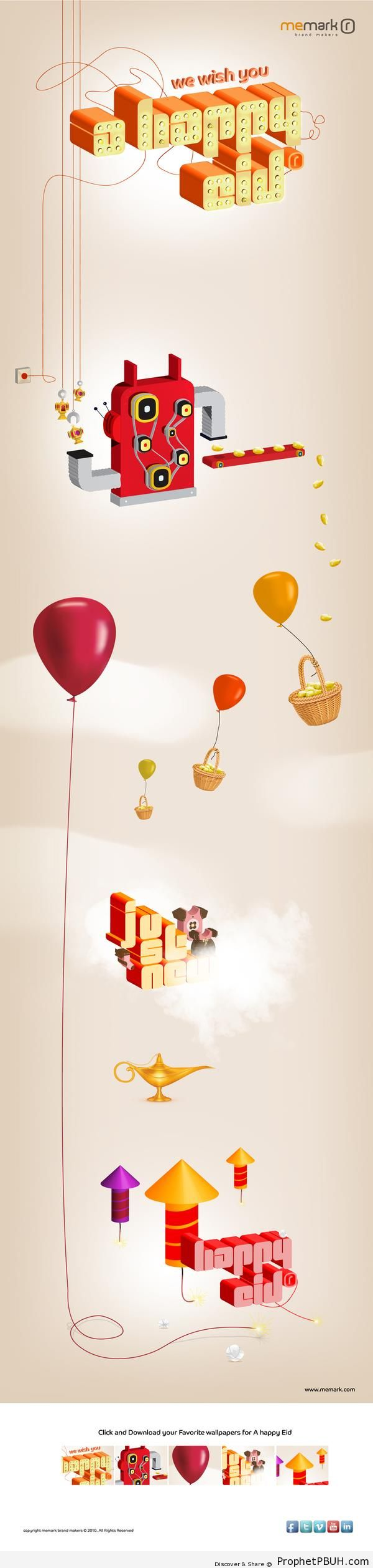 Happy Eid Greeting with Oil Lamp, Balloons, and Fireworks - Drawings of Balloons