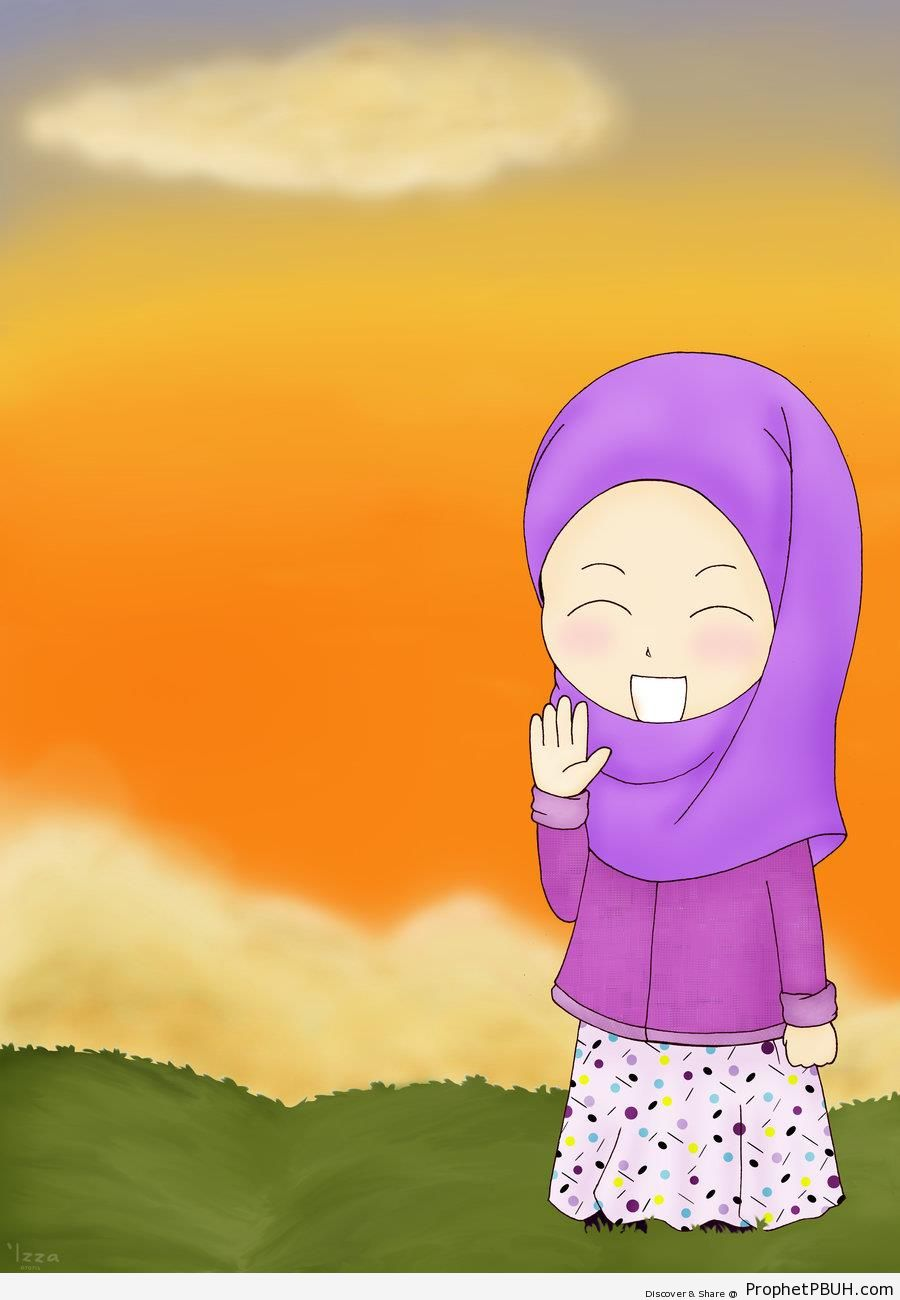 Happy Hijabi Standing in Field (Drawing) - Drawings