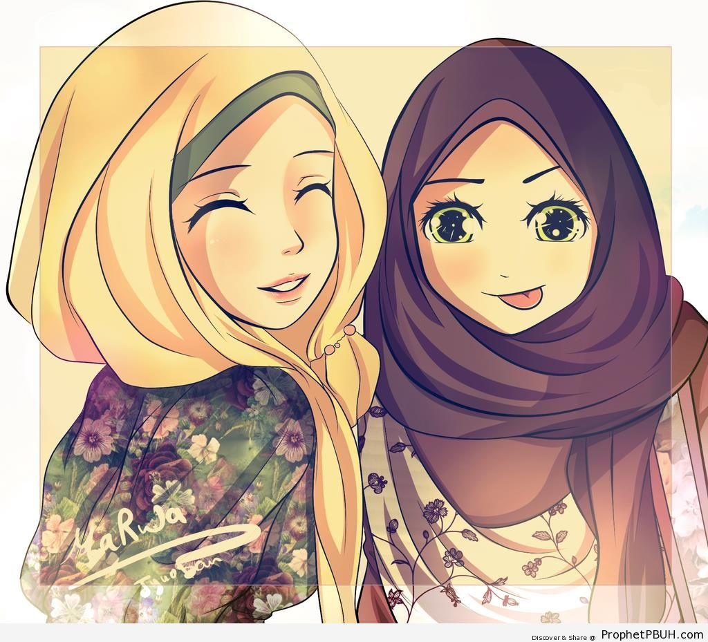 Happy Hijabis (Anime-Style Drawing) - Drawings