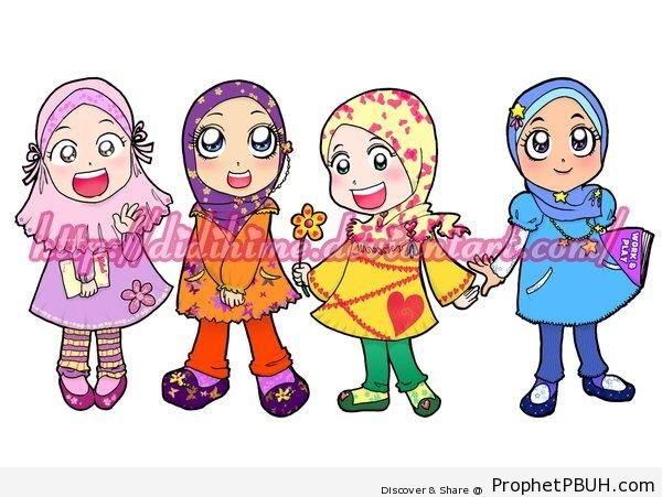 Happy Muslim Little Girls - Drawings