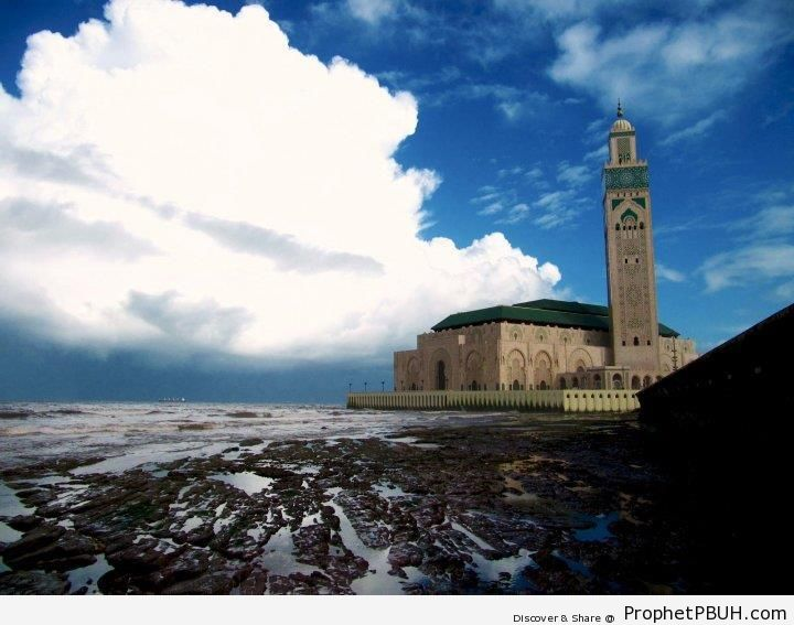 Hassan II Mosque from the Sea (Casablanca, Morocco) - Casablanca, Morocco -Picture