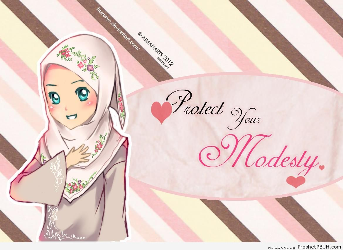 Hijab Poster With Cute Muslimah Drawing - Drawings