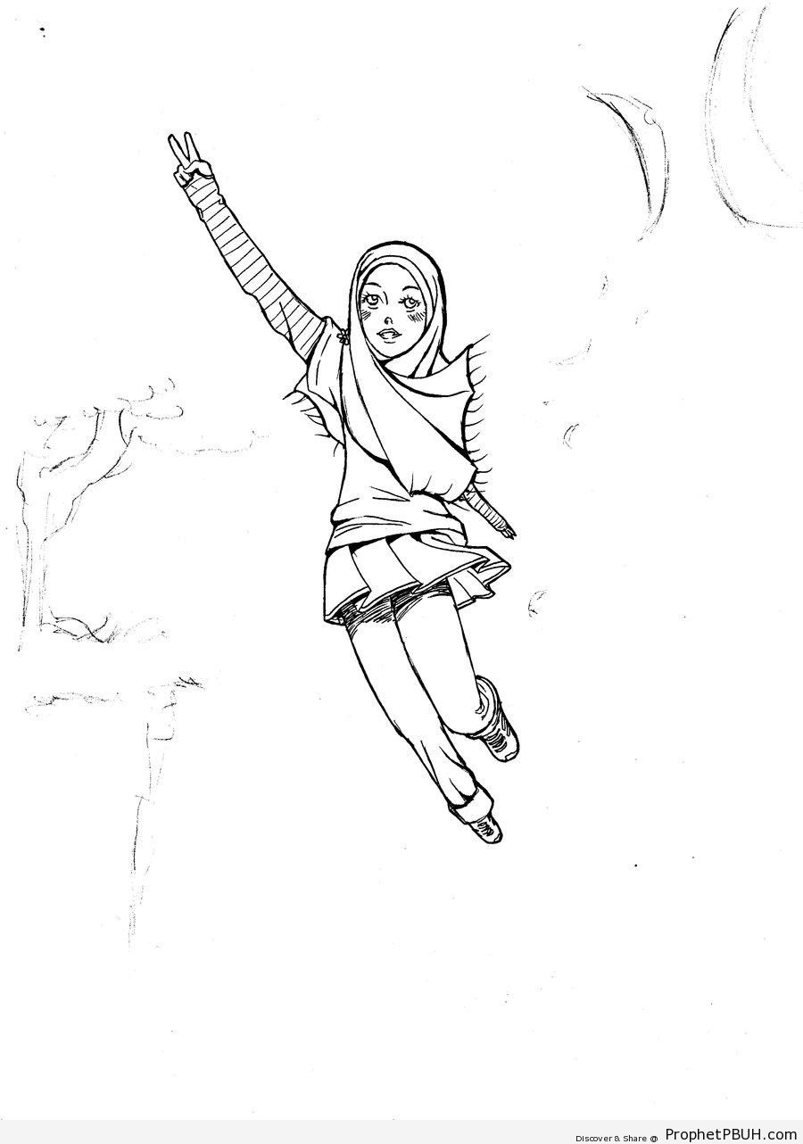 Hijabi Girl Line Drawing - Drawings