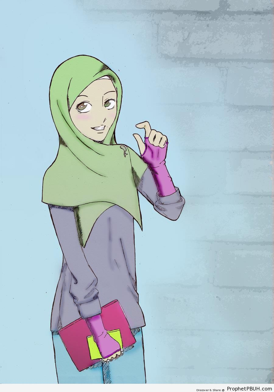 Fingerless gloves for drawing - Hijabi Girl With Fingerless Gloves And Book Drawings