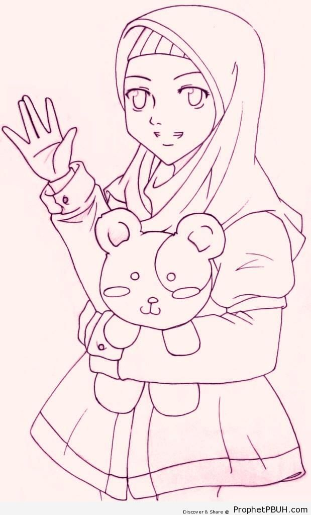 Hijabi Girl With Teddy Bear Line Drawing - Drawings