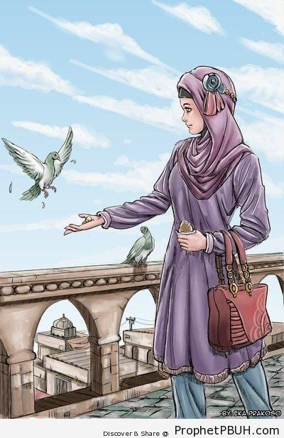 Hijabi Girl and Pigeons - Drawings