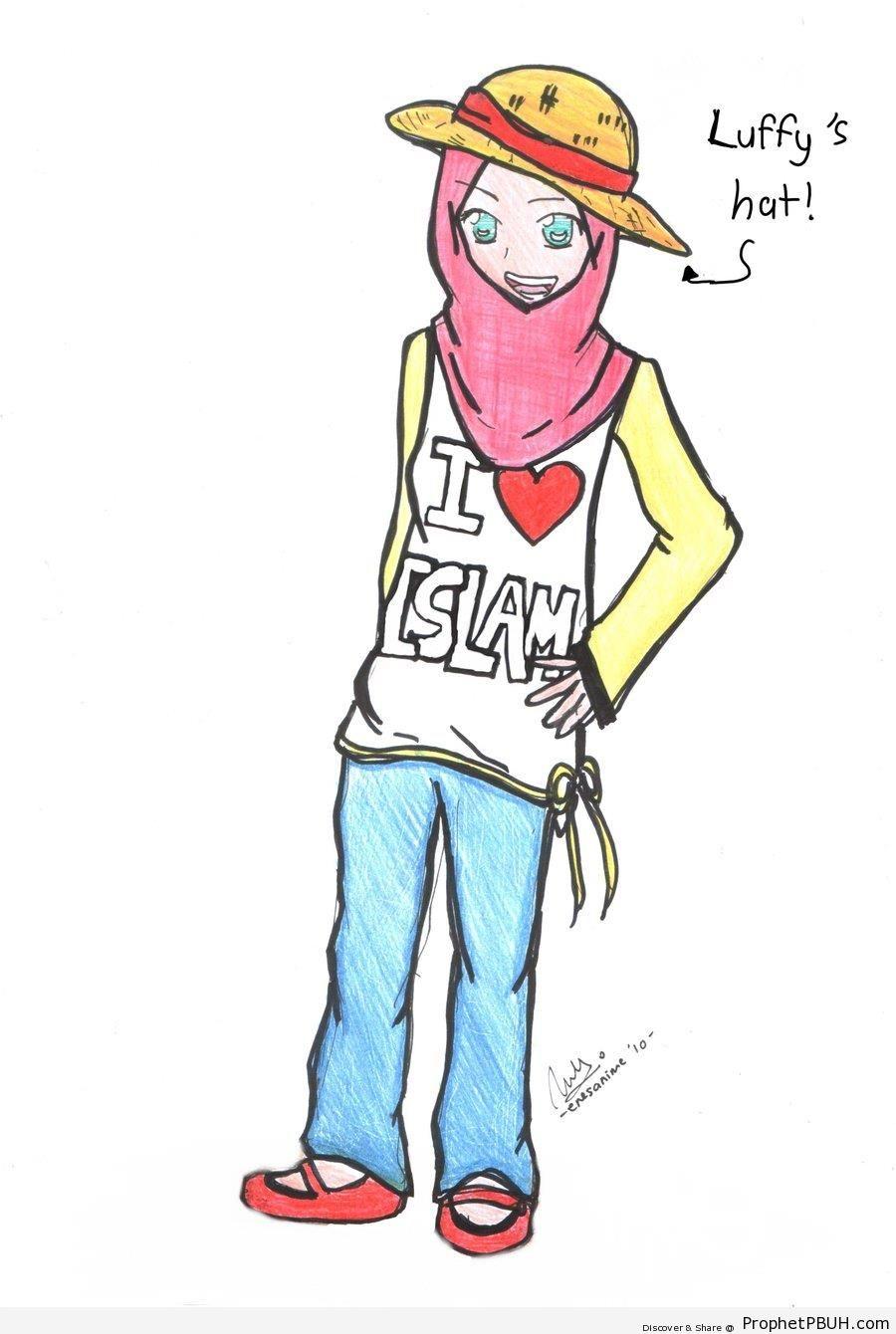 Hijabi Girl in -I Heart Islam- Shirt - -I Love Islam- Posters