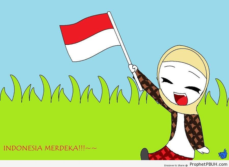 Hijabi Indonesian With Indonesia Flag - Drawings