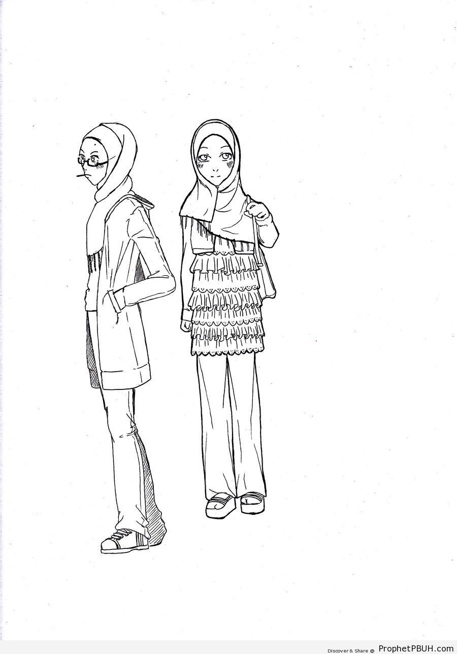 Hijabi Line Drawings to Color - Drawings