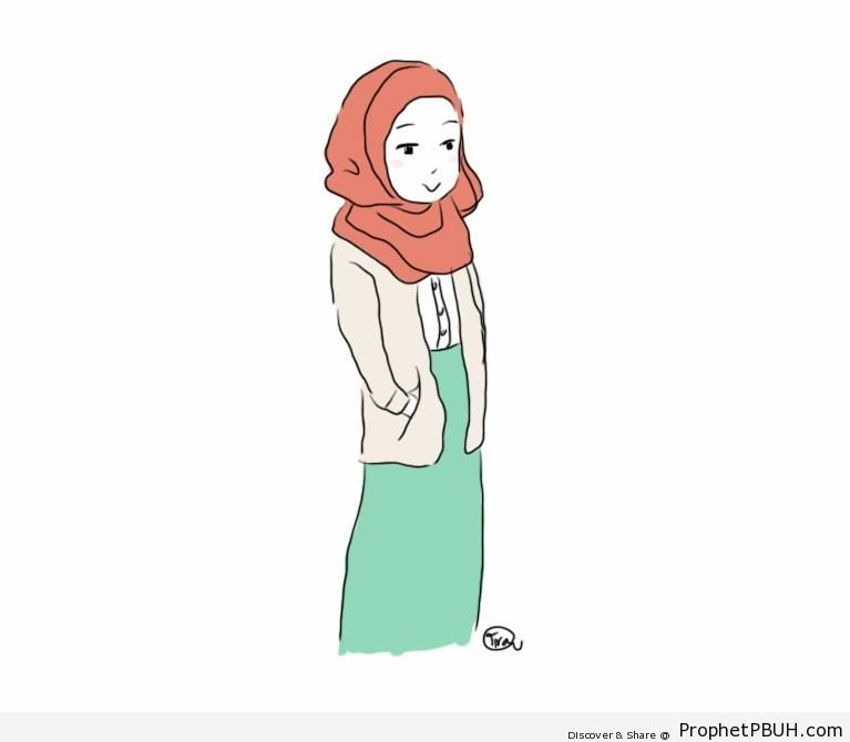 Hijabi Muslim Woman Drawing - Drawings
