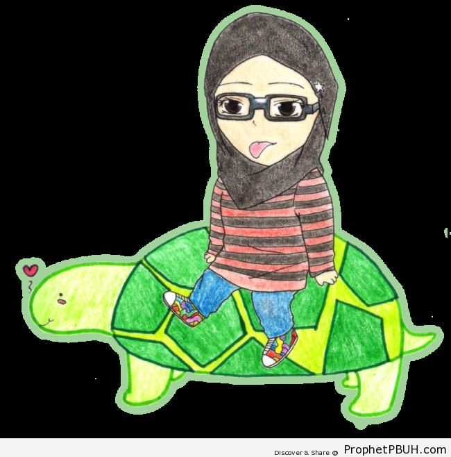 Hijabi Riding Turtle - Drawings