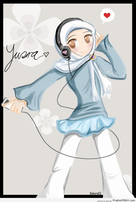 Hip Manga Hijabi Girl With iPod and Headphones - Drawings