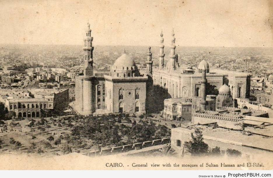 Historic Cairo Photo Showing Sultan Hassan and ar-Rifai Mosques - Cairo, Egypt -Picture
