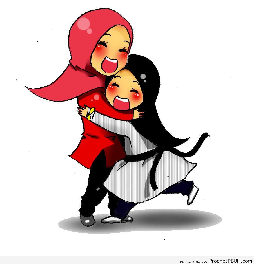 Hugging Chibi Muslimah Mother and Daughter - Chibi Drawings (Cute Muslim Characters)