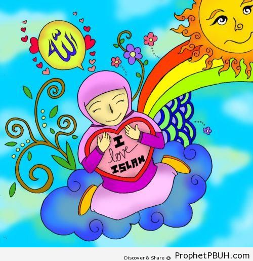 I Love Islam Poster With Muslim Girl, Rainbow, Sun, and Flowers - -I Love Islam- Posters