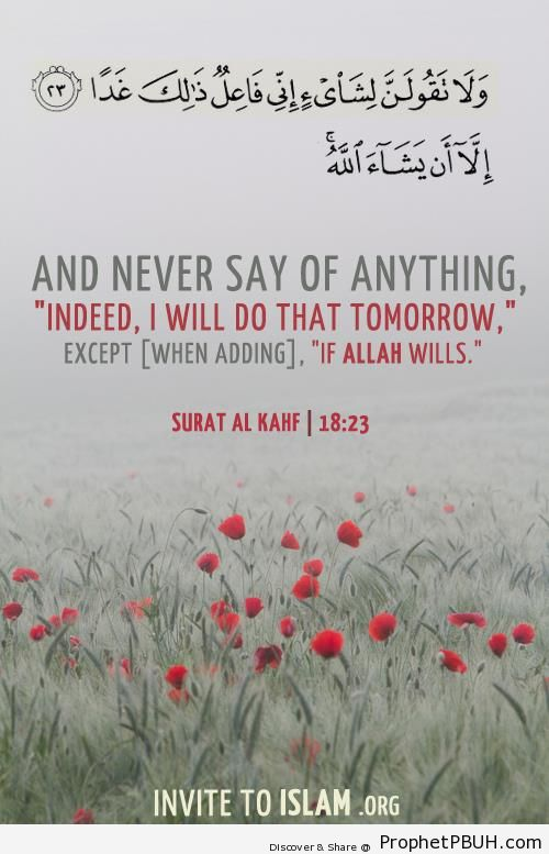 If Allah Wills (Quran 18-23-24) - Photos