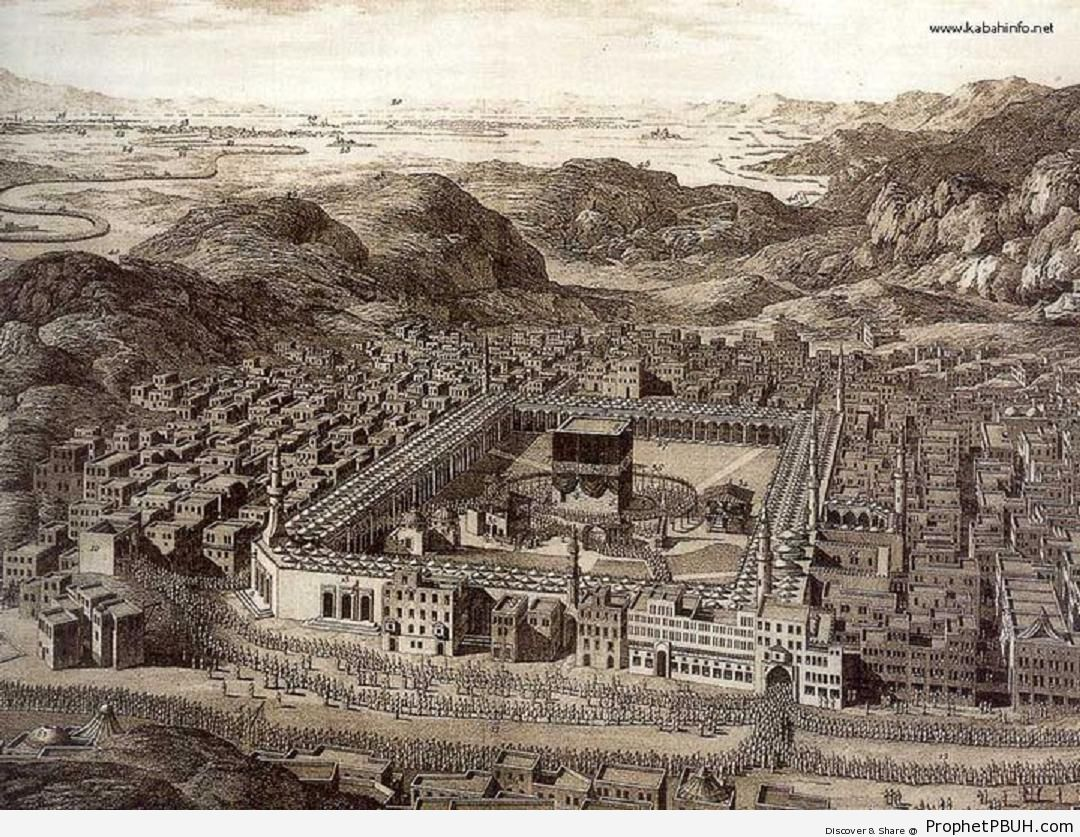 Illustration-Map of Makkah in 1850 With the Ka`ba in the Center -