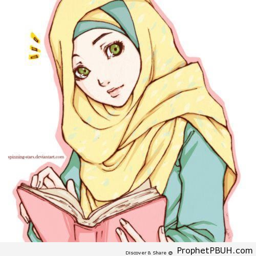 Illustration of Muslim Woman in Hijab Reading the Quran - Drawings