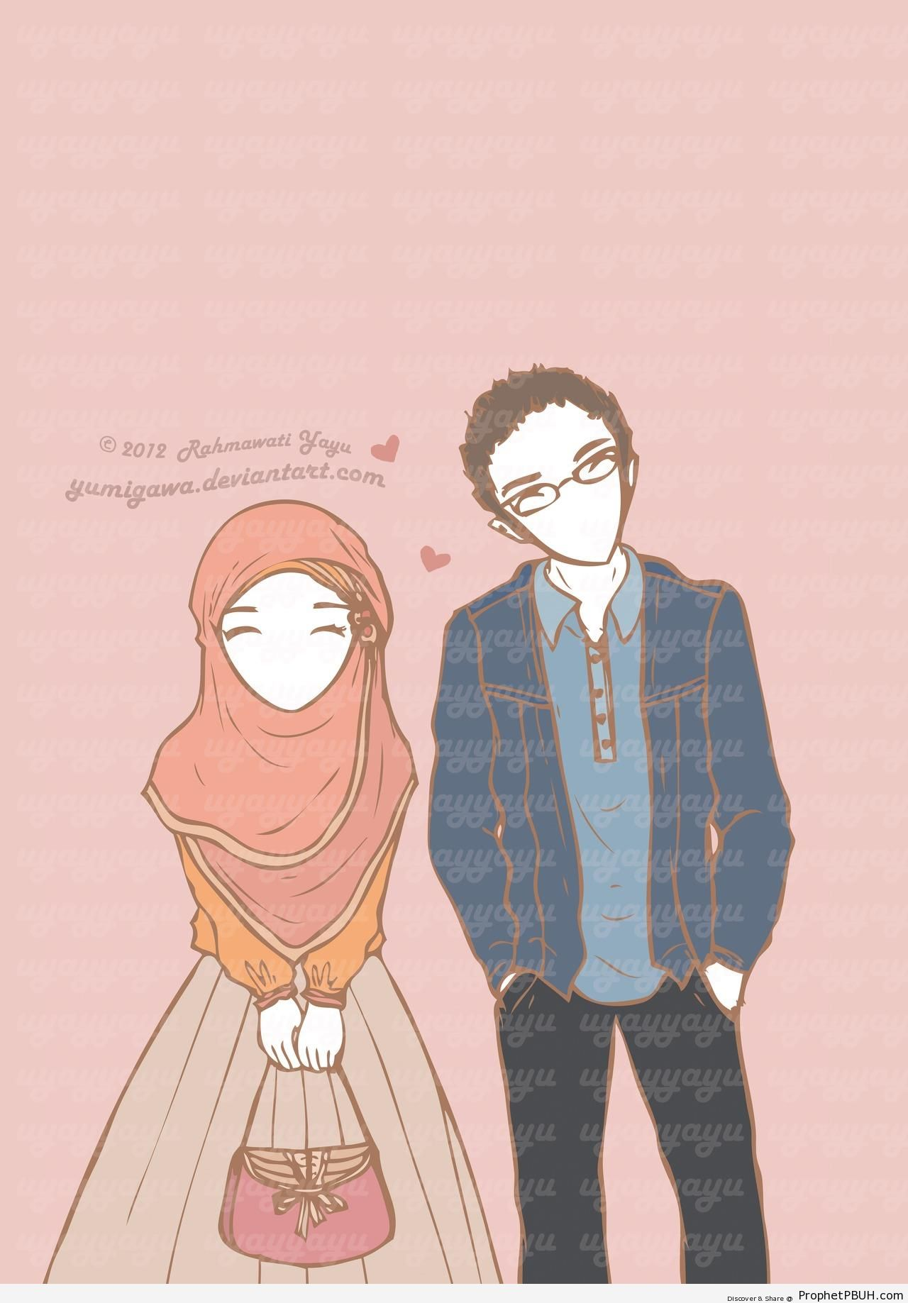 Illustration of a Muslim Couple - Drawings of Female Muslims (Muslimahs & Hijab Drawings)
