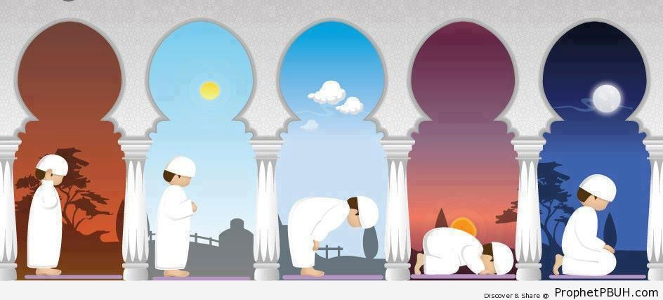 Illustration of the Five Daily Islamic Prayers - Drawings