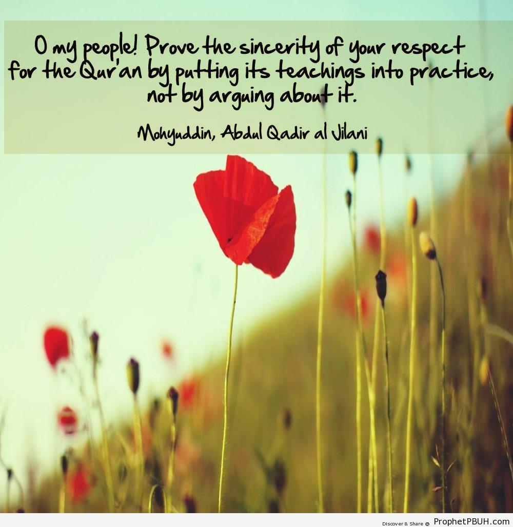 Imam Abdul Qadir Gilani Quote- Your Respect for the Quran - Imam Abdul-Qadir Gilani quotes
